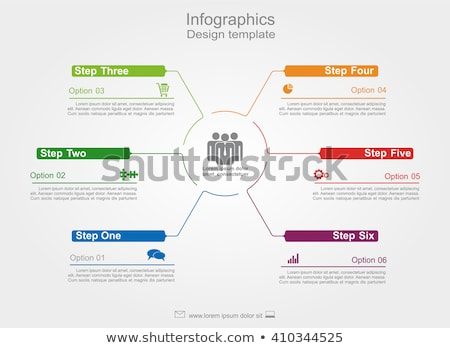 Timeline infographic design vector. 6 steps, rounded workflow layout. Vector infographic timeline te Stock photo © ukasz_hampel