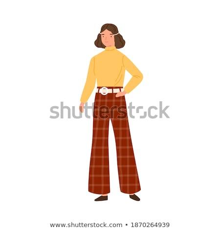 hippie woman cartoon character on white background Stock photo © yupiramos