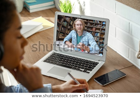 Woman Using English Language Learning App Stock photo © AndreyPopov