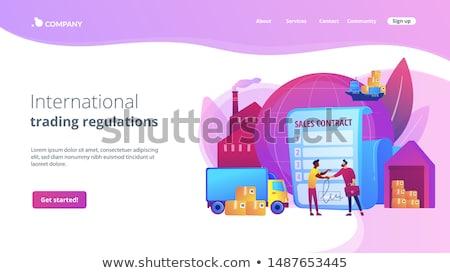 Sprzedaży umowy lądowanie strona international business współpraca Zdjęcia stock © RAStudio