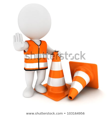 3d small people   traffic cone stock photo © anatolym