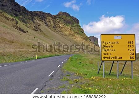 Исландия шоссе знак зеленый острове облаке улице Сток-фото © kbuntu