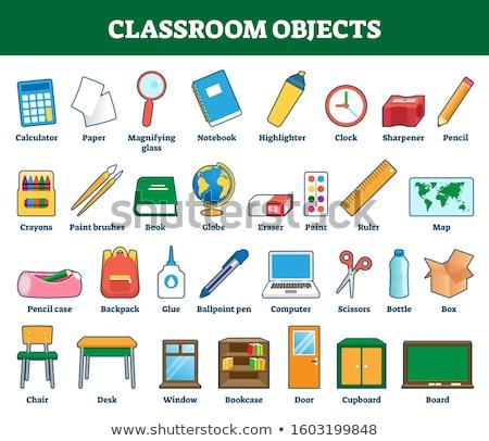 Escuela objetos aula estudio tiempo libros Foto stock © Anna_Om
