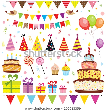 Stock photo: Party balloons birthday present and chocolate cake