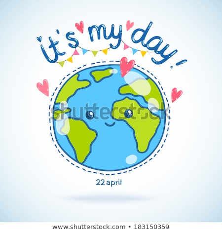 Drawing green earth blue heart Stock photo © romvo