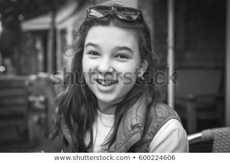 Portré vonzó mosoly tinilány fehér fogak hegyorom Stock fotó © dacasdo