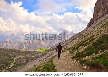 Man backpacking though the mountains Stock photo © photography33