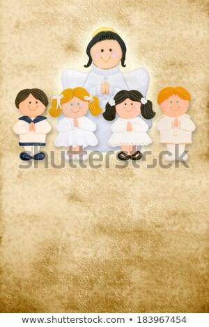 primera · comunión · tarjeta · vertical · ángel · grupo · ninos - foto stock © marimorena