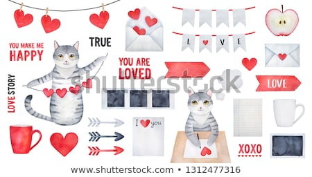 lovely stationary red with cupids stock photo © damonshuck