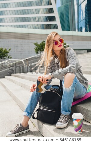 young beautiful woman in jeans stock photo © pzaxe