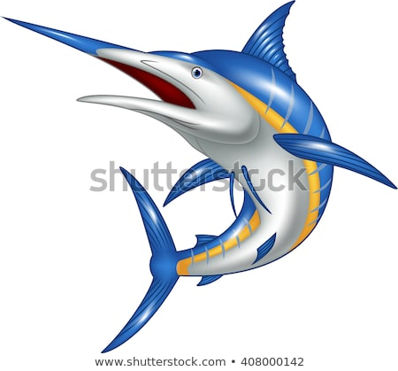 blue marlin cartoon stock photo © dagadu