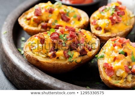 Ham zoete aardappel voorgerechten plakje chip ondiep Stockfoto © ildi