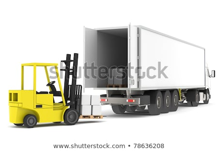 loading the truck forklift loading a trailer part of a blue and yellow warehouse and logistics se stock photo © johanh