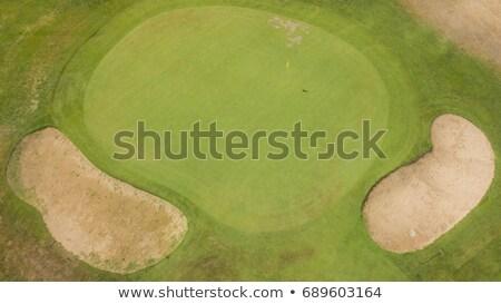 Stock fotó: Golf · mező · kettő · citromsárga · zászlók · tavasz