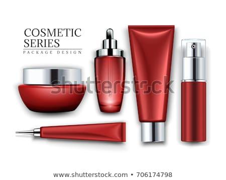 Stock fotó: Piros · kozmetika · üveg · izolált · haj · szépség