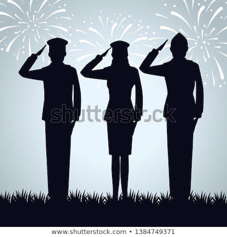 Stock photo: Silhouette of an army soldier saluting