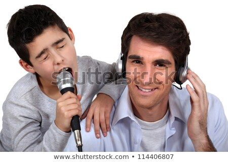Stock photo: Father and son musical duo