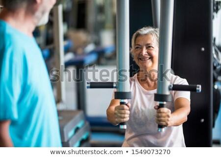 Idős pár kardio gép víz férfi fitnessz Stock fotó © photography33