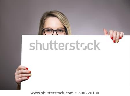 belle · brunette · vide · Billboard · portrait · femme - photo stock © lithian