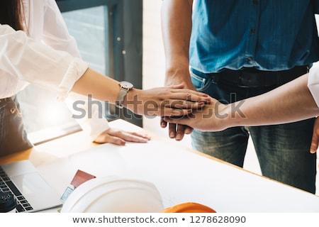 Zespołu kabel pracownika przemysłowych hat biały Zdjęcia stock © photography33