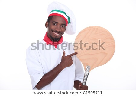 Pizza chef tonen schil handen voedsel Stockfoto © photography33