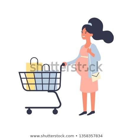 grávida · mamãe · compras · criança · menina · mãe - foto stock © carodi