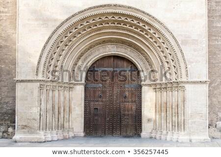 Catedral edifício madeira atravessar porta igreja Foto stock © Glasaigh