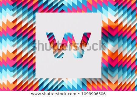 w · betű · papír · matrica · piros · absztrakt · háló - stock fotó © maxmitzu