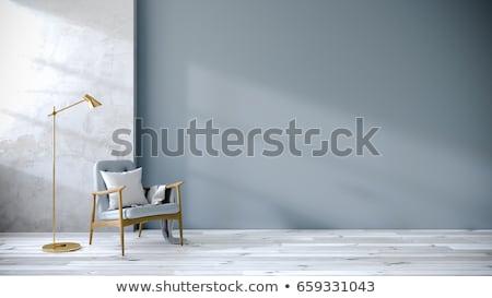 salon · canapé · bleu · mur · design · d'intérieur · crème - photo stock © nirodesign