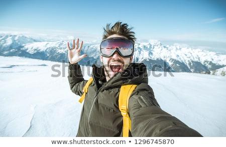 Portret uśmiechnięty mężczyzna narciarz twarz człowiek Zdjęcia stock © gophoto