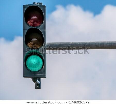 пешеход · сигнала · Blue · Sky · небе · фон · знак - Сток-фото © jkraft5