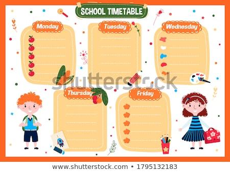 Codziennie harmonogram klasy rysunek Zdjęcia stock © zzve