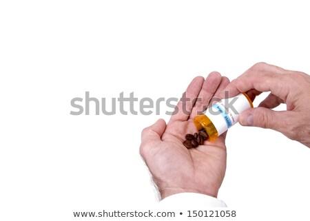 Kahve erkek eller reçete şişe kahve çekirdekleri Stok fotoğraf © saje