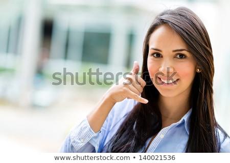 красивая девушка знак пальцы приглашения Сток-фото © fantasticrabbit