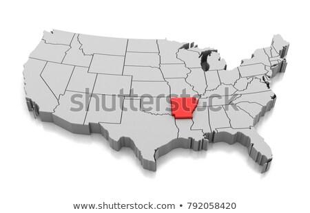 Térkép Arkansas 3D forma színes kék Stock fotó © NiroDesign