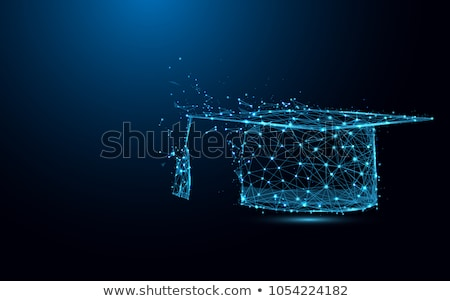 estudante · graduação · boné · azul · ícone · projeto - foto stock © burakowski