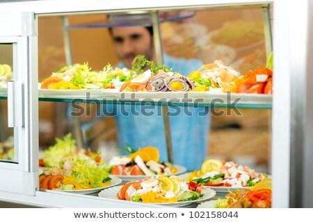 カフェテリア 食品 表示 若い男 選ぶ サラダ ストックフォト © CandyboxPhoto