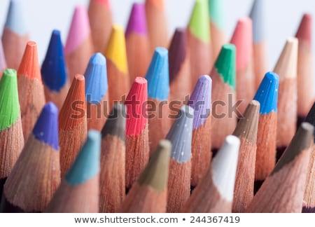 グループ · カラフル · クレヨン · クローズアップ · 木材 · 学校 - ストックフォト © cienpies