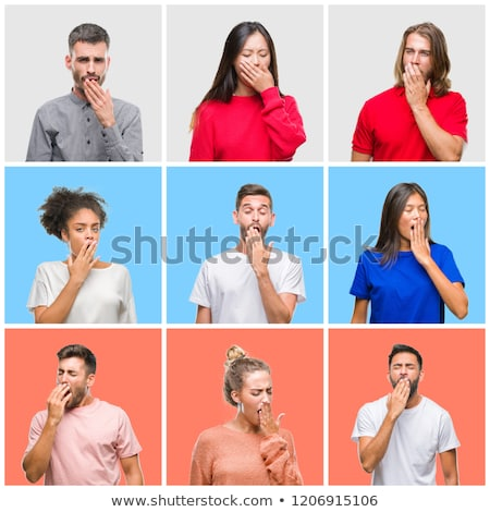Indian young woman yawning with hand over mouth Stock photo © bmonteny