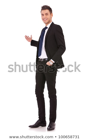Egészalakos kép fiatal üzletember áll szürke Stock fotó © feedough