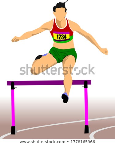 Woman running hurdles. Vector illustartion Stock photo © leonido