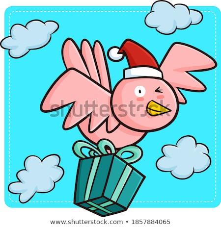 grappig · winter · vogels · genieten · sneeuw · natuur - stockfoto © vg