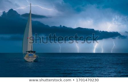 Fırtınalı hava durumu dramatik gökyüzü göl Stok fotoğraf © naumoid