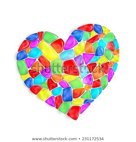 Valentin carte de vœux coeur diamants pourpre papier Photo stock © liliwhite