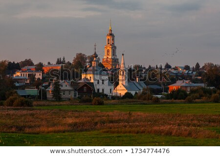 old russian wooden church the church in the field a wonderful rustic look the background stock photo © mcherevan