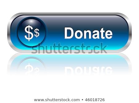 Adományoz kék vektor ikon gomb internet Stock fotó © rizwanali3d