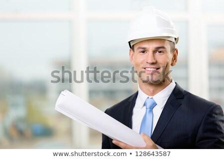若い男 茶色の髪 白 帽子 孤立した ストックフォト © courtyardpix