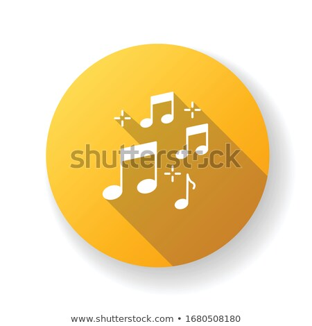 Stock photo: Music white note flat app icon with long shadow