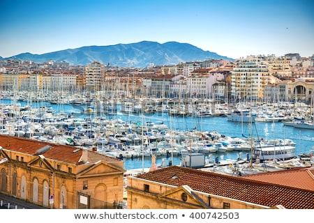 Légi panorámakép kilátás öreg kikötő Marseille Stock fotó © meinzahn