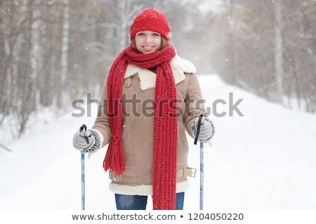 Gyönyörű fiatal nő pózol pólus fehér stúdiófelvétel Stock fotó © kasjato